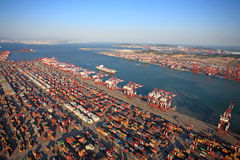 China Qingdao Port Container Terminal. China has become the world port throughput and container throughput up, the fastest growing countries With China's rapid stock images
