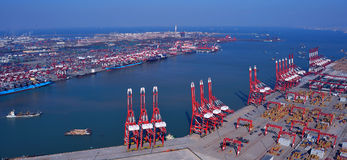 China Qingdao Port Container Terminal. China has become the world port throughput and container throughput up, the fastest growing countries With China's rapid royalty free stock photography