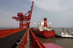 China Qingdao port and ton iron ore terminal Stock Photography