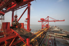 China Qingdao port and ton iron ore terminal Royalty Free Stock Photo