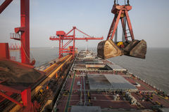 China Qingdao port and ton iron ore terminal Royalty Free Stock Photos