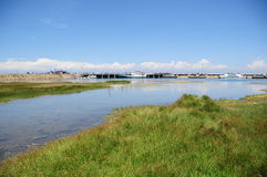 China Qinghai lake. Qinghai lake is located in qinghai province on the northwest plateau of china.International Road Cycling Race held in Qinghai Lake Royalty Free Stock Photo