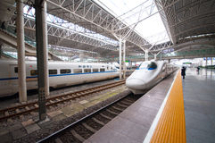 China Railway High-speed. (CRH) is the high-speed rail service operated by China Railways.  runs different electric multiple unit trainsets, The fastest Royalty Free Stock Image