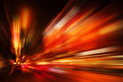 China red motion blur fast business and technology background concept. Acceleration super zoom blurry night road royalty free stock photo