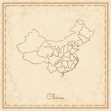 China region map: stilyzed old pirate parchment. Royalty Free Stock Image