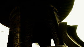 China religion Inscriptions on censer iron tower,oriental elements temple. stock video footage