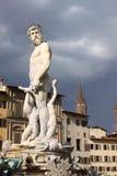 Italy. Florence city streets. Fountain of Neptune in Piazza della Signoria Stock Photos