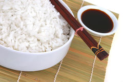 China rice on traditional bamboo Stock Photo