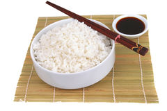 China rice on traditional bamboo mat Stock Image
