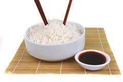 China rice on traditional bamboo mat Stock Photo