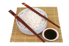 China rice on traditional bamboo mat Royalty Free Stock Photo