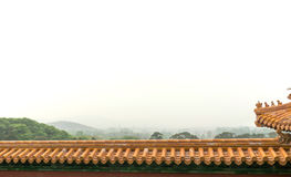 China roof and mountains Royalty Free Stock Photo