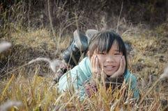 China rural little girl Stock Photo
