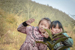 China rural sister in the wild Stock Photo