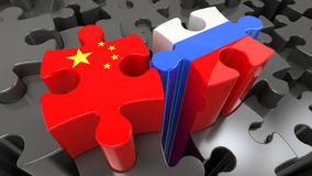 China and Russia flags on puzzle pieces. stock illustration