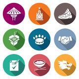 China and Russia Icons Set. Vector Illustration. Royalty Free Stock Photos