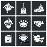 China and Russia Vector Icons Set. Transit of gas from Russia to China Vector Isolated Flat Icons collection on a black background Royalty Free Stock Photos