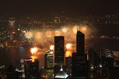 China's 60th aniversary fireworks. In Victoria Harbor in Hong Kong in 2010 Royalty Free Stock Photography