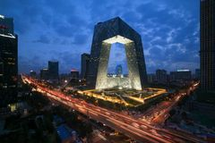 China`s Beijing City, a famous landmark building, China CCTV CCTV 234 meters tall skyscrapers is very spectacular.  royalty free stock image