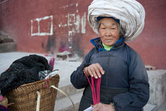 China's ethnic minorities, the Yi old lady Stock Images