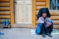 Ethnic minorities, the Yi old lady Stock Image