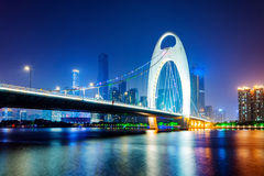 China's Financial District, Guangzhou Pearl River Bridge Royalty Free Stock Photography