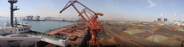 Qingdao Port, China iron ore terminal Royalty Free Stock Images