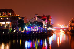 China's grand canal at night. The beijing-hangzhou grand canal in wuxi section of the night Royalty Free Stock Photos