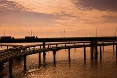 China-` s Hangzhou Bucht-Brücke Stockbilder