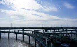 China-` s Hangzhou Bucht-Brücke Stockfotos