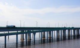 China-` s Hangzhou Bucht-Brücke Stockfotografie