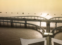 China-` s Hangzhou Bucht-Brücke Stockfoto