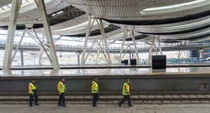 Maintenance workers at high speed rail stations. China`s high-speed rail all over the country, safe, fast, comfortable, cheap has been recognized by people, but stock image