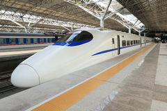 China's high-speed train. Parked in the platform of Chinese high speed train royalty free stock photos