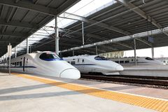 China`s high-speed trains stock photos