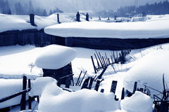 China`s jilin farm yard after the snow scene. Chinese characteristic farmhouse snow scape Stock Photography