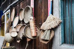 China's labor tools made ​​of bamboo. Chinese bamboo production work tool for cleaning guards, making food, etc royalty free stock image