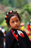 China's last primitive tribes - Wa. ,Wa, a village girl, Wa tribal people to color black as a standard of beauty Stock Image