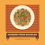 China's national dishes,Chinese fried noodles - Vector flat Stock Image