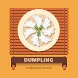 China's national dishes,Dumpling or Pierogi - Vector flat design Stock Image
