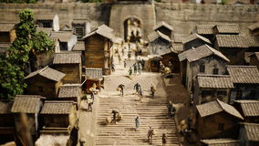 China's old house model. Filmed in liuzhou industrial museum in liuzhou city during the period of 1930 s in the corner of the house, the market model Royalty Free Stock Images