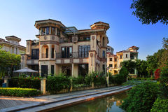 China's real estate community environment. The Chinese way of life,building,Architectural appearance,Living environment,Residential landscape stock image