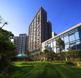 China's real estate community environment. The Chinese way of life,building,Architectural appearance,Living environment,Residential landscape royalty free stock photo