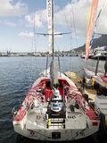 China`s only sailing boat `Volvo Ocean 65 Dongfeng` in Cape Town, South Africa. November 15, 2014 - Cape Town, South Africa, Abu Dhabi Ocean Racing Royalty Free Stock Photography