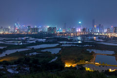 China s Shenzhen city from hong kong night view Stock Photo
