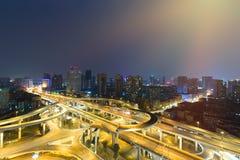 China `s Sichuan Chengdu, the evening overpass Stock Photo