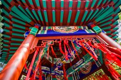 China`s small pavilion. Red cloth Royalty Free Stock Photo