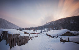 China's snow town. Shuangfeng is a small village a mountain where are more than 20 families live there Stock Photos
