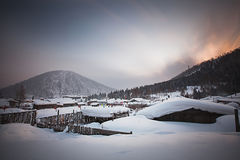 China's snow town. Shuangfeng is a small village a mountain where are more than 20 families live there Royalty Free Stock Images