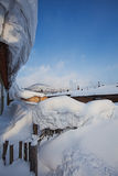 China's snow town. Shuangfeng is a small village a mountain where are more than 20 families live there Stock Photo